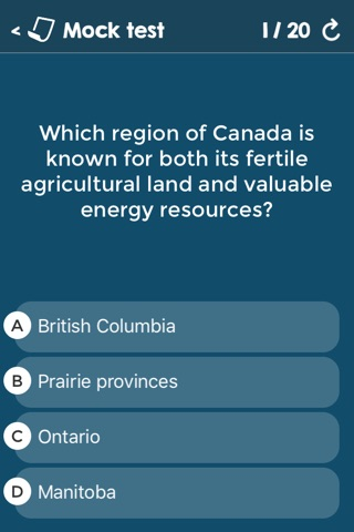 Canadian Citizenship Test Questions - Federal & Provincial Exams - Alberta, British Columbia, Manitoba, Ontario, Quebec screenshot 3