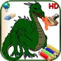 Livro de colorir para meninos para iPad com lápis de cor - 36 páginas para colorir com dragões, pira