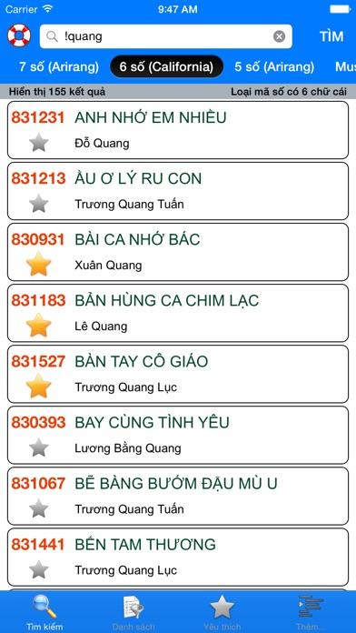 download VNKaraoke - Tra cứu mã số karaoke 7, 6, 5 số Arirang, MusicCore, ViTek, Sơn Ca, Việt KTV apps 4