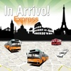 In Arrivo Express - buses and taxis moving in front of you