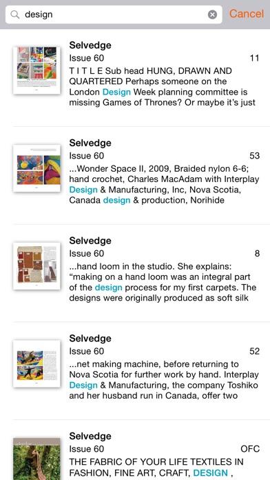 Selvedge review screenshots