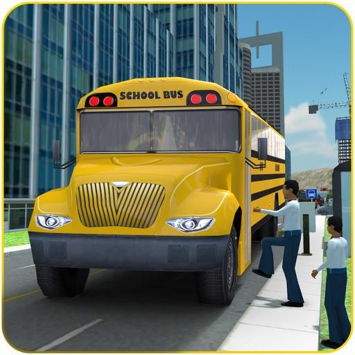 スクールバスの運転-市ドライバーはドロップキッズピック&します