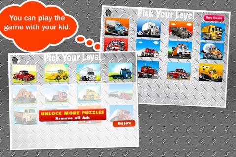 Trucks Jigsaw Puzzles: Kids Trucks Cartoon Puzzles screenshot 2