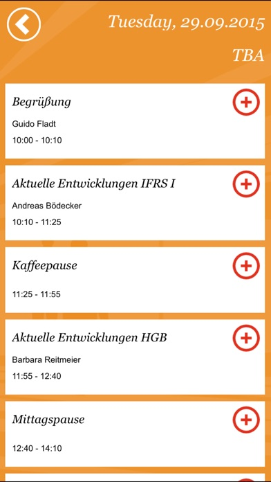 Screenshot von PwC EventApp3