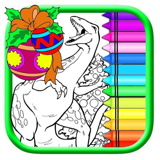 World Dinosaur Christmas Coloring Book Draw Game iOS App