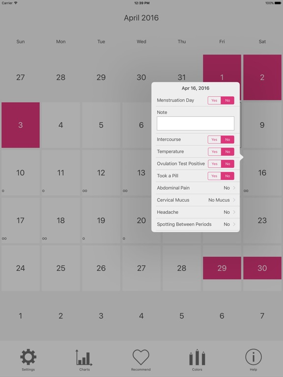 Sample Menstrual Calendar Ipad Screenshot Menstrual Period Tracker