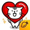 Heart Cat Lite - Mango Sticker facebook sticker translator
