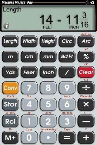 Measure Master Pro Feet Inch Fraction Calculator screenshot 1