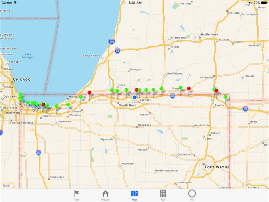Indiana Toll Road On The App Store - Road map of indiana